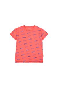 T-Shirt salmone con stampe scritte blu