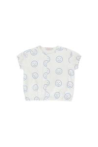Camicia bianco sporco con stampe smile blu