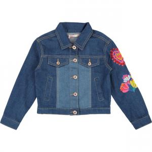 Giubbotto di jeans con perline e ricami cuore e fiori