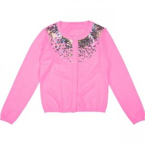 Cardigan rosa con paillettes multicolore