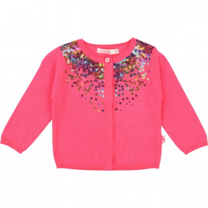Cardigan rosa con paillettes colorate