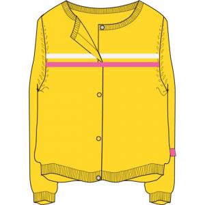 Cardigan giallo con ricamo righe bianche e rosa