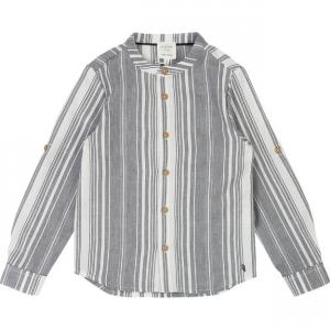 Camicia a righe bianche e grigie con colletto tunisino