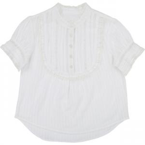 Camicia bianca a maniche corte con pizzo collo e maniche
