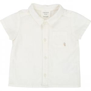 Camicia bianca a maniche corte con ricamo logo