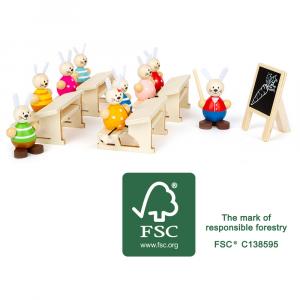 Scuola dei conigli Set da gioco in legno