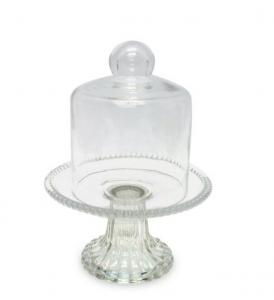 Alzata per dolci e frutta in vetro con campana stile Perles cm.19h diam.14