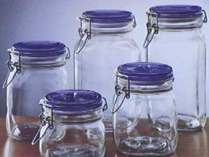 BORMIOLI ROCCO Pack 6 Glass Jars Trusty Blue Sealing Plug Cc1000 Italian Style