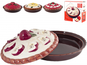 HOME Ceramic Pie Plate With Assorted Decorative Lid 26 Pastry Baking