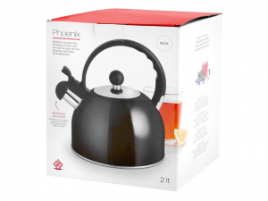 HOME Inox Black Phoenix Kettle with 2Lt Induction Whistle Stainless Steel