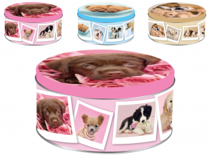 HOME Pack 6 Boxes Tin Dogs Decoration Round Cm17Xh8 Jars Food Storage Containers Italy