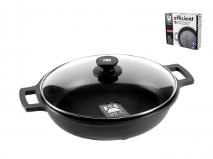 PINTI INOX Non-Stick Pan 2 Handles Cm30 Efficient With Lid Kitchenware Italy