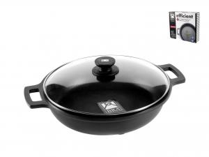 PINTI INOX Non-Stick Pan 2 Handles Efficient With Cm28 Lid Top Italian Brand