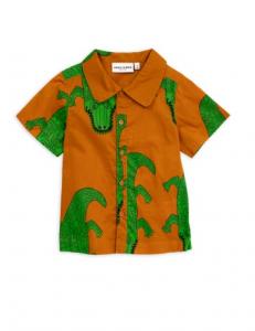 Camicia marrone con stampa coccodrilli verdi