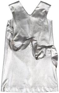 Vestito argento smanicato con volant