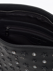 Maxi pochette donna nera con strass e stelline e tracolla in catena