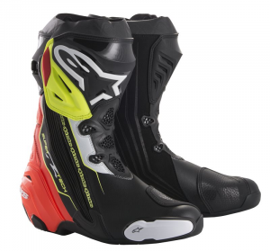 STIVALI MOTO RACING ALPINESTARS SUPERTECH R BLACK RED YELLOW FLUO WHITE COD. 2220015