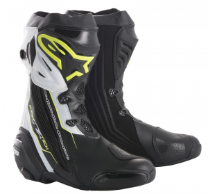 STIVALI MOTO RACING ALPINESTARS SUPERTECH R BLACK YELLOW FLUO WHITE COD. 2220015