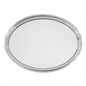Vassoio ovale argentato argento sheffield stile Rubans cm.30x20
