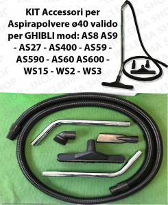 Accessories kit for vacuum cleaner ø40 valid for GHIBLI mod: AS8 AS9 - AS27 - AS400 - AS59 - AS590 - AS60 AS600 - WS15 - WS2 - WS3