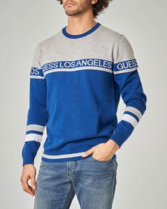 Maglia grigia e blu royal con logo e scitta Los Angeles