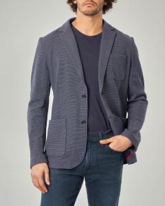Giacca blu in jersey con taschino