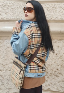 LEVI'S X BURBERRY Giubbotto in Jeans vintage ANNI 90 REMAKE