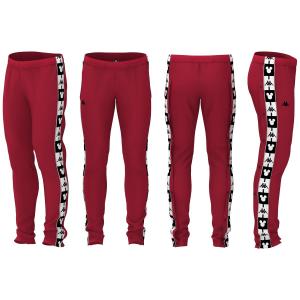 Pantalone di tuta rosso con stampe loghi neri e bianchi
