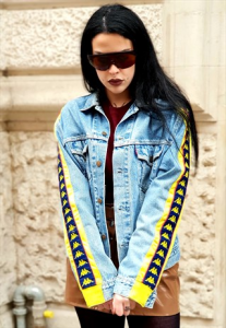 LEVI'S X KAPPA Giubbotto in Jeans vintage ANNI 90 REMAKE