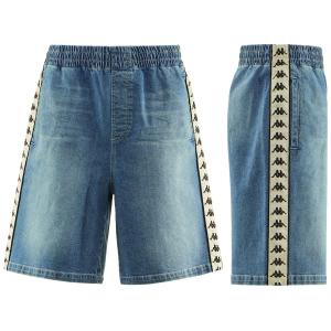 Pantaloncino di jeans con stampe loghi neri