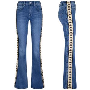 Jeans con bottoni laterali e stampe loghi neri