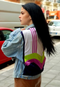 Giubbotto in Jeans vintage ANNI 90 REMAKE CON TOPPE ADIDAS