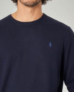 Maglia blu girocollo in Pima cotton