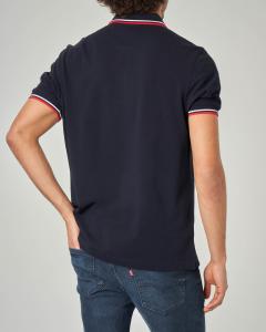 Polo blu con bordino bianco e rosso