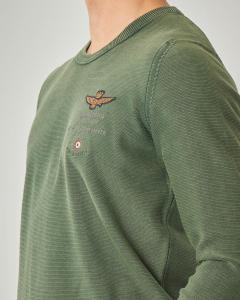 Maglia verde girocollo con logo