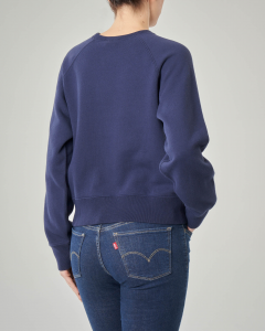 Felpa blu girocollo in jersey di cotone