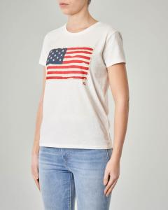 T-shirt bianca manica corta con logo a bandiera