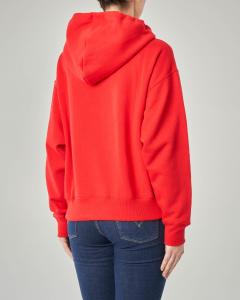 Felpa rossa con cappuccio e logo applicato