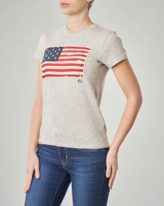 T-shirt grigia manica corta con logo a bandiera