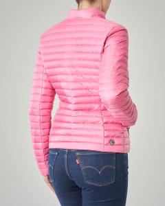 Giacca rosa imbottita in piuma leggera con fodera interna grigia