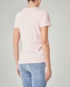 T-shirt rosa manica corta con logo a blocchi di colore