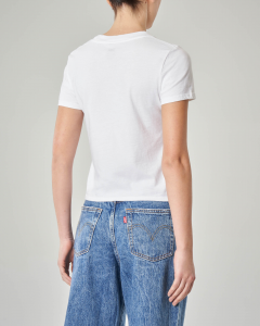 T-shirt cropped bianca in cotone con logo