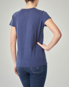 T-shirt blu manica corta con logo a bandiera