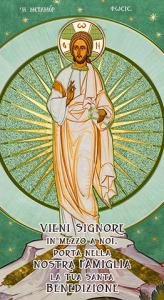 Benedizione Cristo Risorto 12x22 con oro