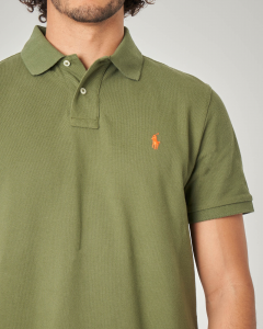 Polo verde militare custom slim-fit