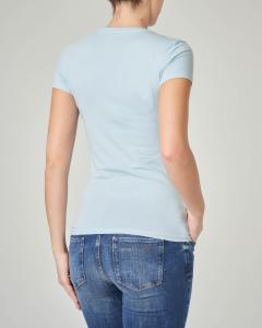 T-shirt azzurra aderente maniche corte con logo