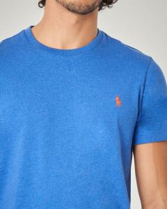 T-shirt blu royal con logo arancione