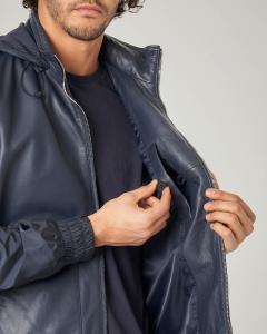 Giacca blu bi-tessuto pelle e nylon con cappuccio