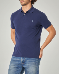 Polo blu custom slim-fit