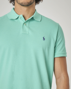 Polo verde acqua custom slim-fit